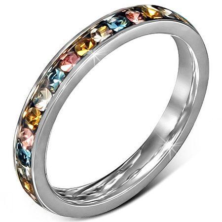 Кольцо с цветными цирконами