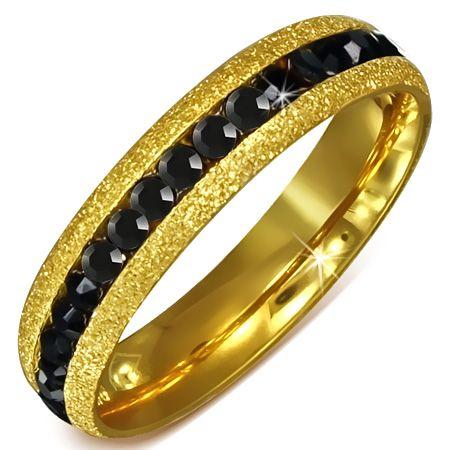 Кольцо с черными цирконами