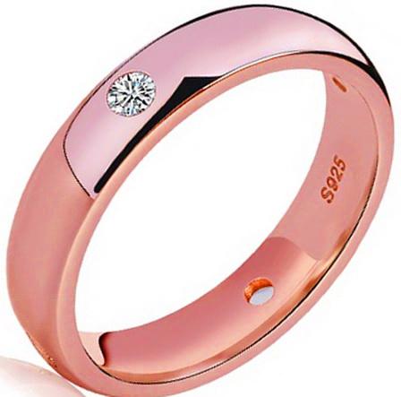 Кольцо с розовым золотом