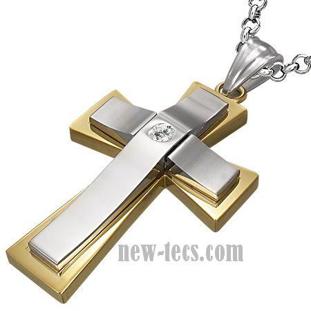 Стальной крест с цирконом